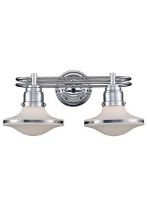 "RETROSPECTIVE 2 LIGHT VANITY IN POLISHED CHROME AND OPAL WHITE GLASS $258.00  9""H x 18""W x 11""E (2) 60W Medium Bulbs (not included) ​Polished Chrome And Opal White Glass ​"