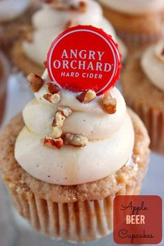 Adding Angry Orchard Apple Beer to your cupcakes enhances the flavor of these moist and delicious cupcakes. Topped off with a creamy cream cheese frosting, drizzled in maple syrup, and topped off with pecan pieces makes these cupcakes great for fall. Best Apple Desserts, Köstliche Desserts, Delicious Desserts, Yummy Food, Delicious Cupcakes, Beer Cupcakes, Cupcake Cakes, Themed Cupcakes, Apple Cupcakes