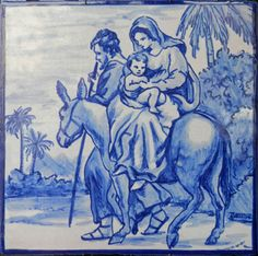 Portuguese Culture, Picture Tiles, Tile Murals, Blue Tiles, Holy Family, Religious Art, Delft, House Painting, My Favorite Color