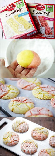strawberry lemonade cookies ~1 box Betty Crocker Super Moist lemon cake mix 1 box Betty Crocker Super Moist strawberry cake mix 4  eggs 2/3 cup vegetable oil (divided) 2 teaspoons lemon juice 2 cups powdered sugar (divided) 1-2 tablespoons milk