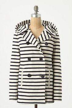 Striped Jersey Peacoat, Anthropologie. is that a hood?! i love hoods.