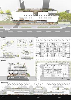 시립송파 실버케어센터 건립 설계공모_WebDRM[yq5] Architecture Portfolio Layout, Architecture Collage, Concept Architecture, Amazing Architecture, Architecture Design, Shopping Mall Architecture, Office Building Architecture, Urbane Analyse, School Building Design