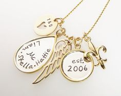 Golden Cherished  Hand Stamped Mothers Necklace by StephieMc, $149.00  Tori Spelling.