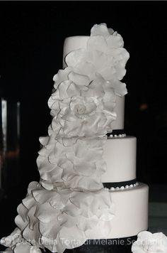 Tuscany Wedding Cake in Black and White by Florence Cake Designer L'Arte Della Torta at Il Borro Resort in Tuscany, Italy