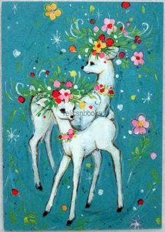 #130 60s Mod Festive Deer, Vintage Christmas Card-Greeting