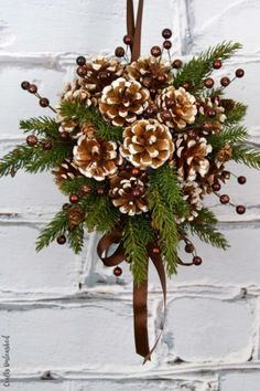 DIY Kissing Ball with Pine Cones - Crafts Unleashed christmas ideas using pinecones Noel Christmas, Rustic Christmas, Winter Christmas, Christmas Wreaths, Christmas Decorations, Christmas Ornaments, Pine Cone Crafts, Christmas Projects, Holiday Crafts