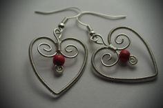 Drôtované opletané náušnice Srdce v srdci
