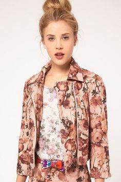 ASOS PU biker jacket in floral-$22