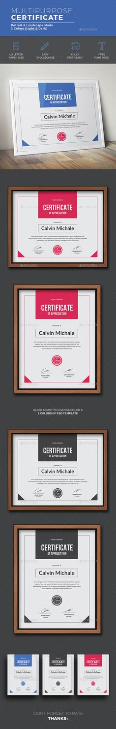 Certificate Design Template  - Certificates Stationery Design Template PSD, AI Illustrator. Download here: https://graphicriver.net/item/certificate/19198397?ref=yinkira