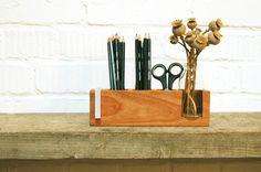 Pen Holder Wood Desk Organizer. Wooden Pencil by Myflowermeadow