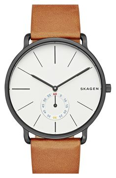 Skagen Hagen Leather Watch, Jewelry & Accessories - Watches - All Watches - Bloomingdale's Best Watches For Men, Cool Watches, Casual Watches, Simple Watches, Modern Watches, Skagen Watches, Men's Watches, Watches Online, Mens Watches Uk
