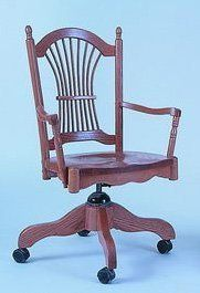 Amish Sheaf Back Desk Chair Comfy with a little bit of country style, this desk chair is solid and sophisticated. Built in choice of wood and finish.