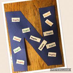 Letter N.  Names on a letter N.  Preschool letter of the week.
