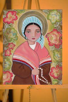 St Bernadette Folk art Original Mixed Media by Evonagallery