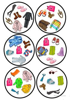 Clothes dobble game - English ESL Worksheets for distance learning and physical classrooms Teaching French, Teaching English, Teaching Nouns, Double Game, English Clothes, Kindergarten Games, English Lessons, Cartoon Kids, Kids Outfits