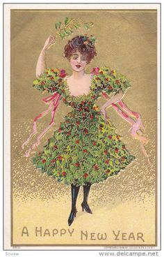 NEW YEAR ; Woman in a holly leaf dress , 00-10s