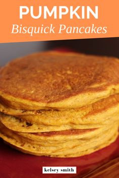Vegan pumpkin pancakes recipe made with Bisquick. They are dairy-free, egg-free pancakes. The recipe is easy to make, these are the easiest vegan pumpkin spice pancakes. Vegan Pumpkin Pancakes, Egg Free Pancakes, Pumpkin Pancakes Recipe With Bisquick, Healthy Pumpkin, All Recipes Pancakes, Fluffy Pancakes, Protein Pancakes