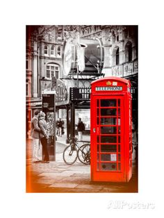 Loving Couple Kissing and Red Telephone Booth - London - UK - England - United Kingdom - Europe Photographic Print by Philippe Hugonnard at AllPosters.com