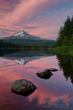 ~~Raspberry Reflection ~ sunset, Trillium Lake, Mount Hood, Oregon by Gary Randall~~
