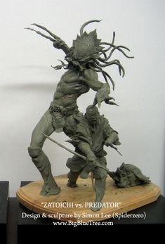 Zatoichi vs. Predator by uber-talented sculptor and artist Simon Lee (aka Spiderzero)  zatoichi1-1alt.jpg 696×1026 pixels