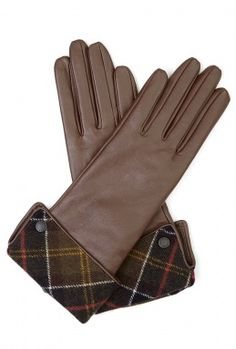 Chocolate Lady Jane Leather Gloves with Classic Tartan Cuff