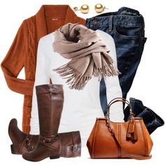 Fall outfit — the linen scarf with burnt orange sweater, chocolate boots w/jeans Oufits Casual, Casual Outfits, Fashion Outfits, Womens Fashion, Fashion Trends, Fasion, Fashion Fashion, Runway Fashion, Fall Winter Outfits