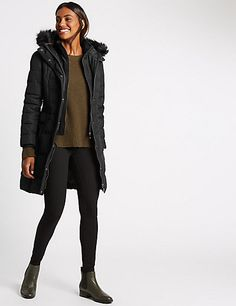 Buy the Padded & Quilted Coat with Stormwear™ from Marks and Spencer's range. Quilted Jacket, Cut And Style, Fur Trim, Faux Fur, That Look, Winter Jackets, Leather Jacket, Stylish, Coat
