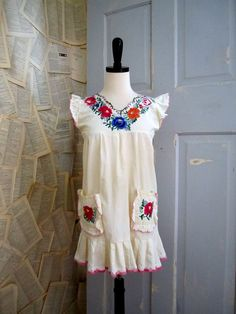 1960s Embroidered/Ruffled Mexican Blouse
