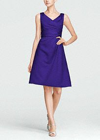 Classy and chic, this timeless style will look great in any bridal party, but will remain a closet staple for years to come.  V-neck tank bodice is supportive and flattering.  Ruched waist hides any flaws and creates dimension.  Satin fabric shapes a short, slim silhouette.  Lined bodice. Back zip. Imported polyester. Dry clean only. Charcoal