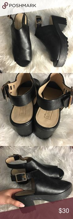 TOPSHOP MULES TOPSHOP mules? Idk what to call them. Worn once. They've just been sitting in my closet. Tagged size 6/39? Will fit 7/8 womens. Topshop Shoes