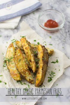 Healthy Garlic Parmesan Fries. Baked and made with Olive Oil - Little Spice Jar