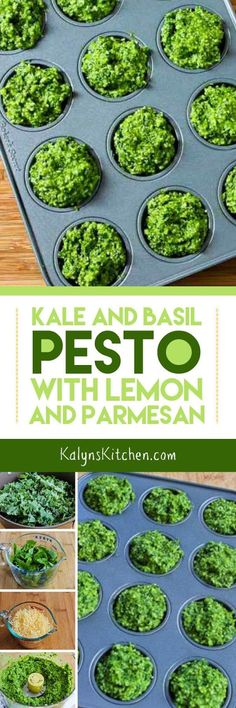 Kale and Basil Pesto with Lemon and Parmesan is a great idea whenever you have too much kale or not enough basil! Eat this low-carb and gluten-free pesto over grilled fish, chicken, or veggies for a low-carb meal. [found on KalynsKitchen.com]