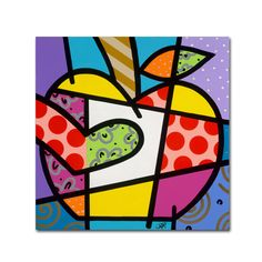 This ready to hang, gallery-wrapped art piece features a colorful, abstract, geometric drawing of an apple. Masters Fine Art is a company that travels around the world to bring the best in fine art fr
