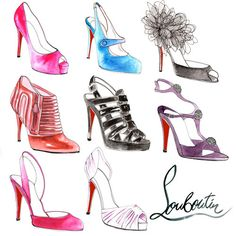 Watercolor sketches + Christian Louboutin heels = PERFECTION