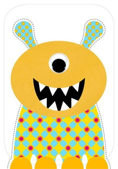 Yellow monster cut out. Monster Birthday Parties, Monster Party, Cartoon Monsters, Little Monsters, Quilting Projects, Sewing Projects, Monster Theme Classroom, Monster Clipart, Pawer Rangers