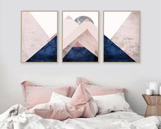 Printable Art, Set of 3 Prints, Mountain Print Set, Pink Navy, Scandinavian Prints, Downloadable Prints, Wall Art, Trending, Bedroom decor THESE ARE INSTANT DOWNLOADS – Your files will be available instantly after purchase. Please note that this is a digital download ONLY, no