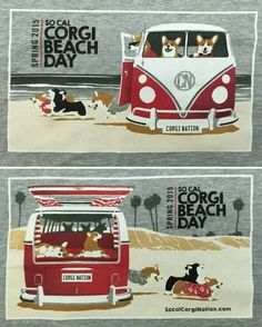 Corgi day at the beach