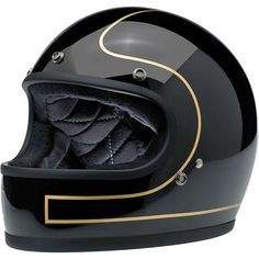 The BILTWELL Tracker helmet black glossy with gold pinstripes. From the new 2016 collection.