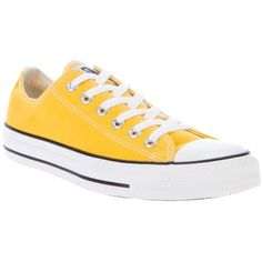 CONVERSE Lo-top canvas sneakers (595 ZAR) ❤ liked on Polyvore featuring shoes, sneakers, converse, yellow, zapatos, canvas lace up sneakers, canvas sneakers, round toe shoes, yellow sneakers and converse shoes