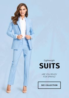 Discover made-to-measure fashion for women. Personalise your female suits, shirts, jackets and skirts at the best price. Spring New, Tailored Suits, Office Outfits, Summer Wardrobe, Suits For Women, Envy, White Jeans, Blues, Shirt Dress