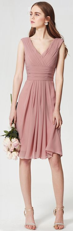 A-Line V Neck Knee Length Chiffon Bridesmaid Dress with Ruching Criss Cross Side Draping by LAN TING BRIDE®