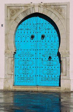 tunis (106) - Blue Door of former British Consulate    blue door with metal rivets, typical North African door, this one on the former British Consulate, Tunis