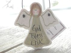 Christening Gift Ornament Salt Dough Angel Baptism Favor / Gift – Cookie Dough Creations