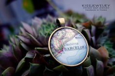 BARCELONA SPAIN necklace pendant map city by Knowledgeissosexy