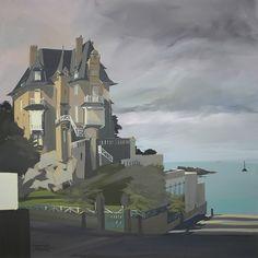 Peinture de la Villa Rosavel à Saint Enogat par Michelle AUBOIRON