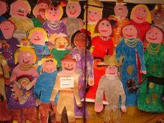 """De Nachtwacht van gr 3/ Lesidee/ Oude Meesters Groep 3 heeft een prachtige Nachtwacht gemaakt….heel simpel en leuk om te maken….en geeft een geweldig effect… Werkwijze: 1. laat kinderen elkaar liggend op achterkant van behangpapier tekenen…dus de omtrek 2. de kinderen hebben foto's en filmpjes bekeken .. zoals deze over Rembrandt…of deze een prijsvraag van Rijksmuseum """"ontwerp je eigen Nachtwacht""""…ook al is de wedstrijd al voorbij …"""