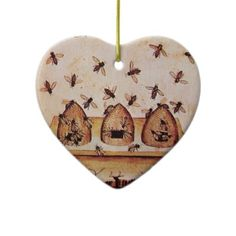 "I would like to get three of these and group them with photos of us as a special ""I-Love-You"" wall. He really is my ""honey""! Beekeeping Heart Christmas #Ornament"