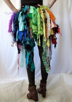 Rainbow RagTag Bustle by DROPCITYapparel on Etsy, $50.00 Would be such a cute Halloween Costume!!