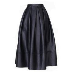 TIBI Leather Full Skirt (1,330 CAD) ❤ liked on Polyvore featuring skirts, bottoms, gonne, faldas, saias, leather midi skirt, a line midi skirt, full midi skirt, knee length a line skirt and pleated a line skirt