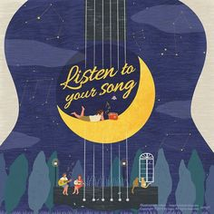 Listen to your song by 나요 on Grafolio Graphic Design Posters, Graphic Design Illustration, Graphic Design Inspiration, Web Design, Book Design, Cover Design, Posca Art, Music Illustration, Cool Posters